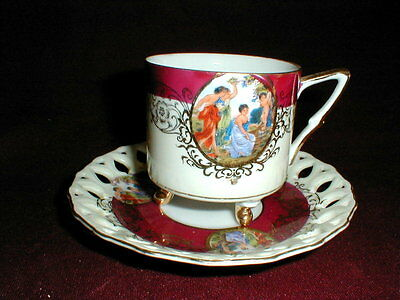 Royal Halsey Japan Reticulated Portrait 3 Toed Cup Saucer