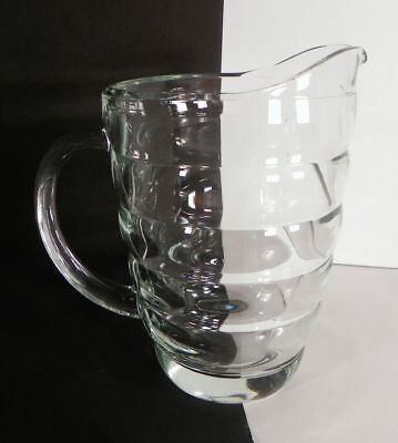 Heavy Clear Pressed Glass BEEHIVE Ringed Ribbed 46 oz Lemonade Iced Tea Pitcher
