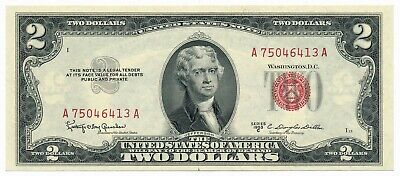 1953 C US Silver Certificate Dollar $2 Red Seal Block AA UNC Note