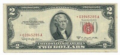 1953 C US $2 Red Seal Star * Note VF