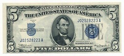 1934 A US $5 Silver Certificate Blue Seal Note UNC