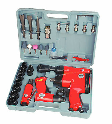"Mannesmann Air Tools Set 33pc Wrench / Ratchet / Grinder / Hammer / 1/2"" 1/4"""