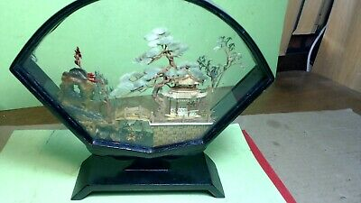 Vintage--HAND MADE--JAPANESE OR CHINESE- ART- WITH COUNTRY,TREES,CRANE, BIRDS
