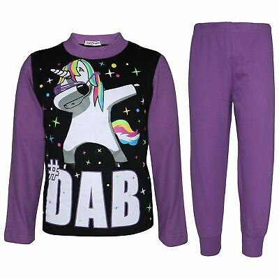 Kids Girls Dabbing Unicorn #Dab Lilac Floss Pajama Loungewear Nightwear Pjs 5-13