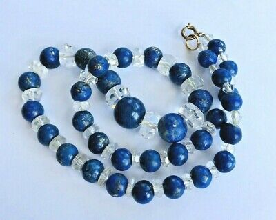 vintage necklace beautiful old lapis lazuli crystal glass
