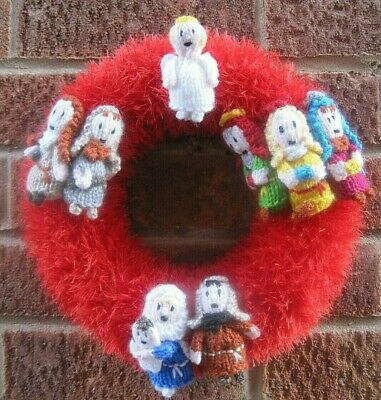 Amazing Hand Knitted Nativity Xmas Wreath. Wall Display. Lasts Years.