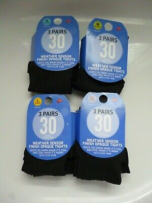 New 3 Pairs 30 Denier  Appearance Weather Sensor Finish Opaque With Lycra Tights