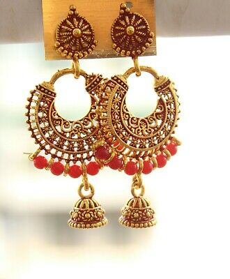 0bfc8841eaff0 INDIAN GOLD PLATED Bollywood Jhumka Jhumki Traditional Ethnic Pearl ...