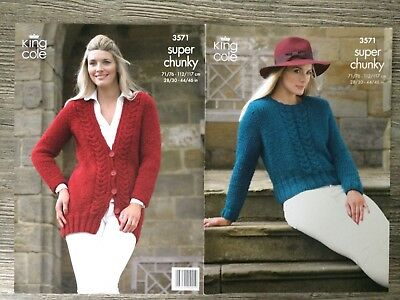 King Cole Knitting Pattern 4357 Ladies Cabled Raglan Sweater Super Chunky 28-46/""