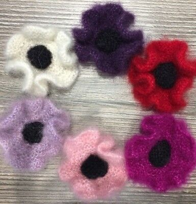 """by KnittedNature Hand Knitted Flower Brooch Corsage The /""""Slubbies/"""""""