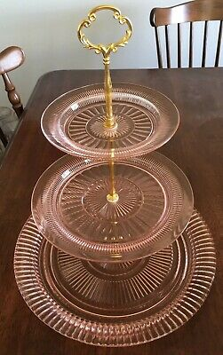 Anchor Hocking Pink Queen Mary Ribbed Pink Depression 3-tier Tidbit Tray Wedding