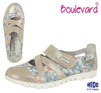 LADIES SUEDE Summer Bar Wide Fit EEE Casual Shoes Grey Floral Size 3 4 5 6 7 8 9
