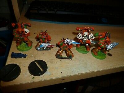 Space Crusade 5 Chaos Space Marines painted 28mm