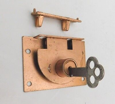 Vintage Copper Plated EAGLE LOCK CABINET Sliding Door LOCK with Flat Key