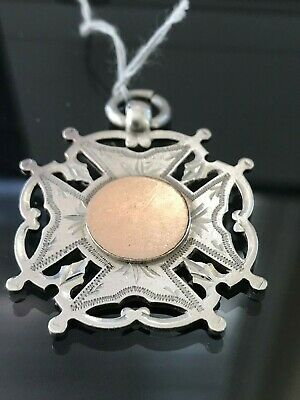 Antique Victorian Sterling Silver Rose Gold Watch Fob Awards Medal 1895