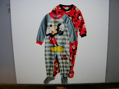"""""""mickey Mouse""""   Set Of 2 Boy's Footed  Blanket Sleepers. Size 2T Nwt"""