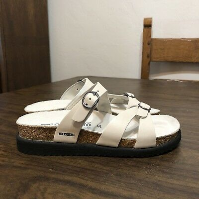 37 US 7 Tried On Mephisto HANNEL Creamy WHITE LEATHER Strappy Slides Sandals