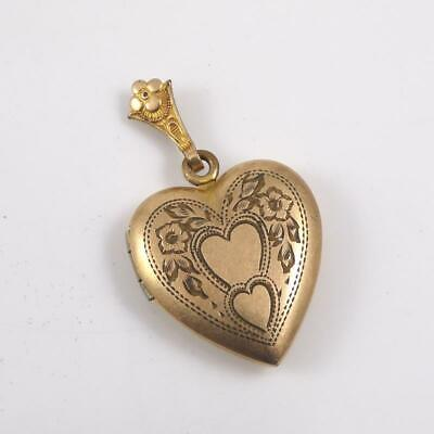 Vintage Antique Victorian 1/20th Gold Filled Heart Picture Locket Pendant QYD9