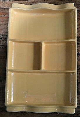 Vintage Mid-Century Poole Pottery Twintone Yellow Divided Hors D'oeuvre Dish