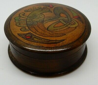 """Antique / Vintage 3"""" Round Wooden Box with Peacock Lid from England"""