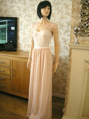 Lace Maxi Dress Nude Chiffon Scallop Size 8 Asos Tall  20'S 30'S Wedding Vintage