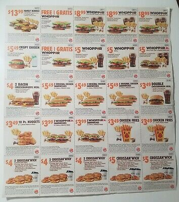 75 Burger King Coupons - 3 Sheets - Exp Aug 8/25/19 Valid Nationwide Ships Today