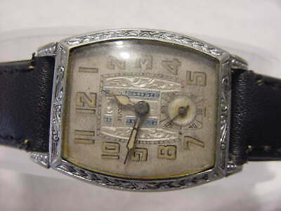 Vintage large antique pre 1920 Art Deco HAYDEN ENGRAVED ENAMEL mens watch