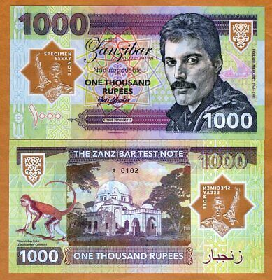 Zanzibar Tanzania 1000 Rupees 2019 Private Clear Window Polymer, Freddie Mercury