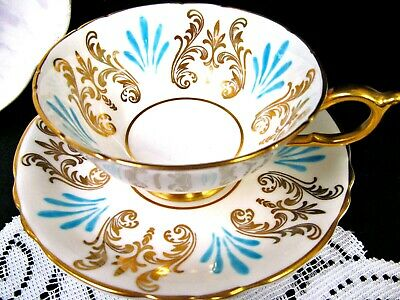 PARAGON tea cup and saucer GOLD & Turquoise blue pattern teacup wide mouth