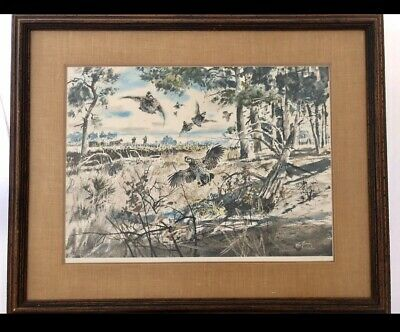Clay McGaughy 1971 Lithograph Signed Limited Edition Print Pheasants Framed 1/2