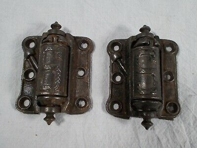 PAIR antique IRON STOVER MFG. DOOR HINGES SPRING CLOSE VICTORIAN
