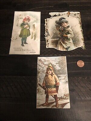 Lot Of 3 Antique Die Cut Victorian Trade Card Winter Christmas Die Cut Pug Dog