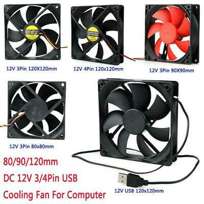 PC Case Cooling Fan 80/90/120mm DC 12V 3/4 Pin USB CPU Computer Cooler Fans Kit