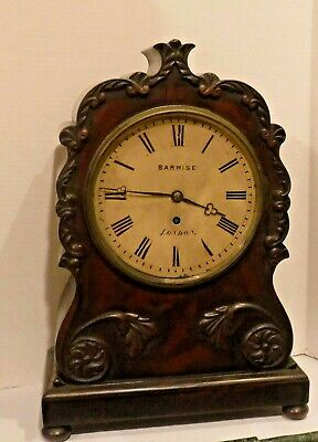 ANTIQUE BARWISE LONDON ENGLISH FUSEE BRACKET CLOCK 8 DAY WORKING c.1840 MAHOGANY