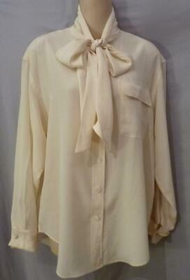 1d327196d8c0cf SAINT LAURENT IVORY Off White 100% Silk Button Down Shirt Blouse Sz ...