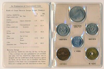 1970 Japan Mint Set Including Expo 70 100 Yen - UNC/ BU Coins in Official Wal't