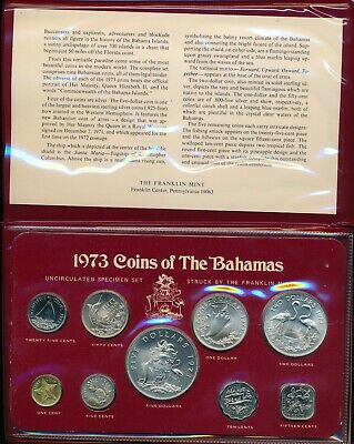 1973 Bahamas BU Mint Set Including 4 Silver Coins in Official Wallet - Scarce