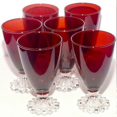 Set of 6 Beautiful Ruby Red Boopie Glass Juice / Water Glasses Anchor Hocking