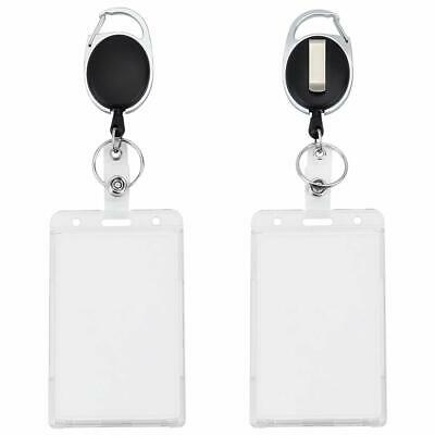 Pawfly Heavy Duty 2-Card Badge Holder Polycarbonate Vertical Thumb Slots With Re