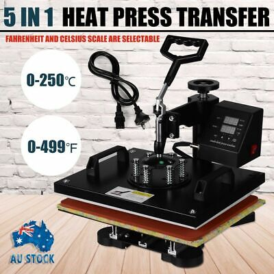 "15""X12"" 5in1 Heat Press Machine Transfer Sublimation T-Shirt Hat Cup Plate DIY"