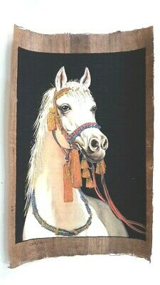 The white horse hand painted on the old Egyptian papyrus paper (40x60 Cm) حصان