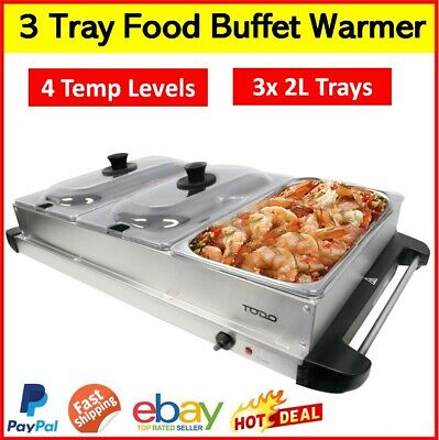 Electric Food Warmer Party Serving Table Bain-Marie Buffet Countertop 3-Pan Tray