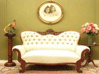 ANTIQUE CARVED WALNUT DOUBLE ENDED CHAISE / SOFA ~ FINE DAMASK FABRIC   c1880s