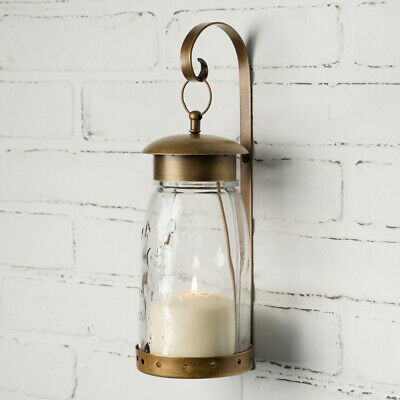 Antique Brass new pair of Hanging Mason Jar candle Sconces