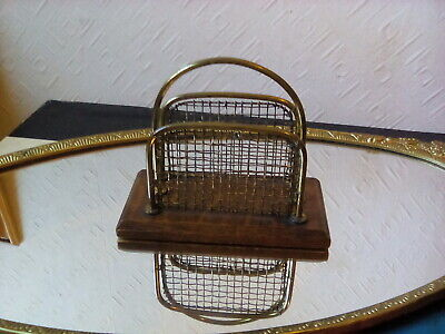 Arts And Crafts Oak And Brass Letter Rack Antique man cave piece....desk top