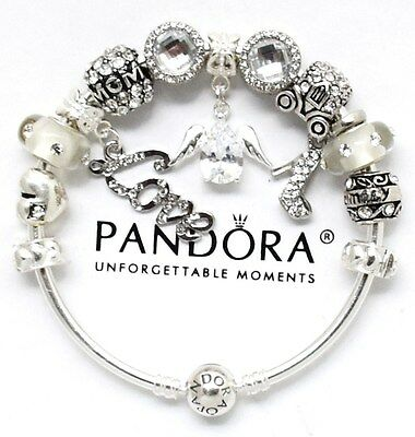 Authentic PANDORA Bracelet Silver MOM ANGEL Mother Day with European Charms New