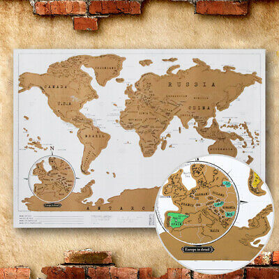 Deluxe World Travel Scratch Off Map 41x29cm Holiday Poster Wall Paper Kids Gifts