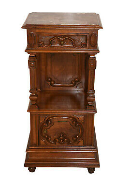 Excellent Quality, Antique Solid Walnut French Night Stand with Marble Top
