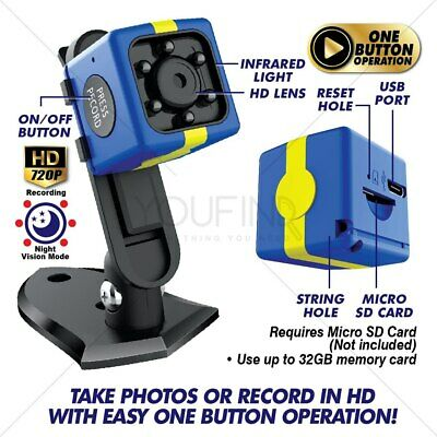 HD Mini COP CAM Motion Detection ONE BUTTON Operation NIGHT VISION AU STOCK