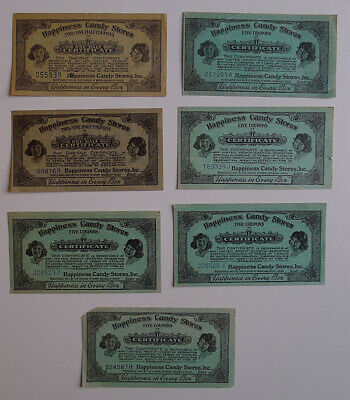 1900's Happiness Candy Stores Lot of 7 different Original Coupons